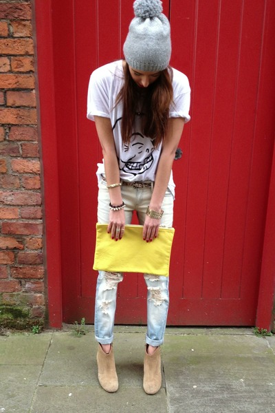yellow American Apparel bag - blue ripped jeans Mango jeans
