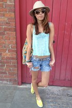camel panama hat Topshop hat - sky blue River Island shorts