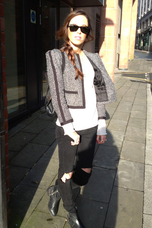 tweed jacket H&M jacket - black ripped jeans Cheap Monday jeans