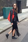 Black-warehouse-dress-black-oasis-jacket-red-red-bag-oasis-bag