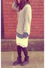Black-aldo-boots-black-h-m-hat-blue-denim-shirt-h-m-shirt-white-h-m-skirt