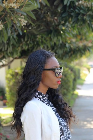black Forever 21 sunglasses - white H&M jacket - black Marshalls top