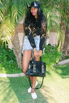 H&M shoes - Forever 21 shirt - black botkier bag - Urban Outfitters shorts