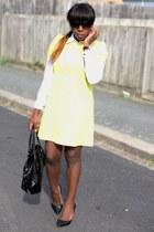 light yellow shift dress Zara dress - black sunglasses sunglasses