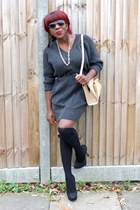sweater dress H&ampM sweater - shoulder bag Dorothy Perkins bag - new look socks