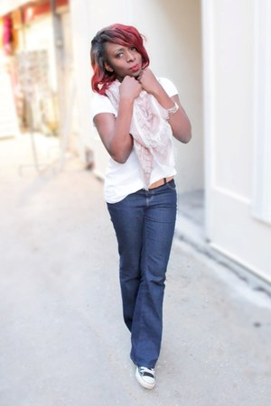 H&M scarf - blue flared jeans Dorothy Perkins jeans - converse Converse sneakers