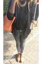 black H&M blazer - silver Zara jeans - black we shirt - Mango bag