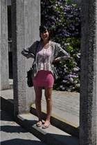 silver vintage blazer - bubble gum H&M dress - white Bershka top