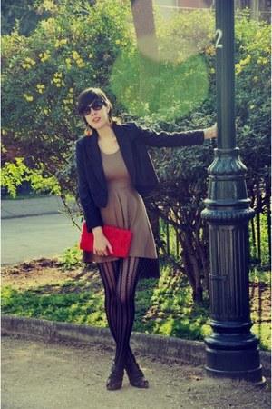 ruby red H&M purse - mustard Zara dress - black H&M blazer - Caffarena tights