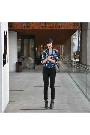 navy Forever 21 blazer - blue Topshop blouse - black Mango pants
