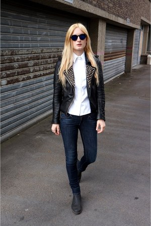 black Zara jacket - white asos blouse - navy glasses