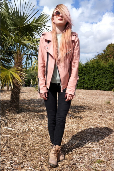 bubble gum Pink Leather Jacket jacket - tan Worker Boots boots