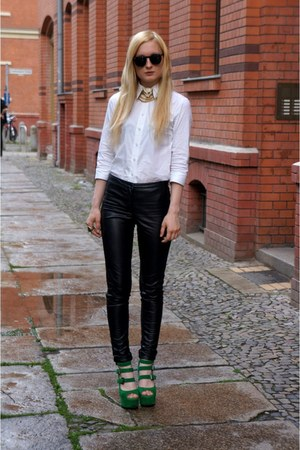 black leather H&M pants - dark green wedges - gold versace x h&m necklace