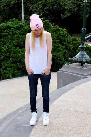 studded top Zara top - beanie Boston Red Sox hat - nike sneakers
