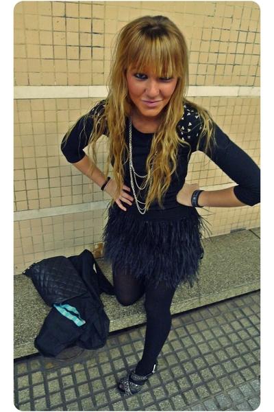 black Zara skirt - black T-shirt shirt - black BLANCO shoes