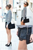 black Zara shorts - white Zara blouse - black Mango heels