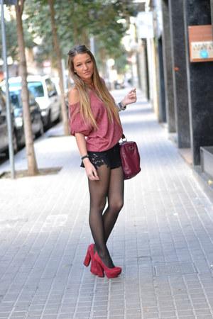 Topshop shorts - Zara sweatshirt - Aldo heels