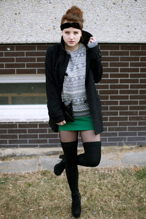 Topshop coat - chelsea asoscom boots - aztec New Yorker sweater