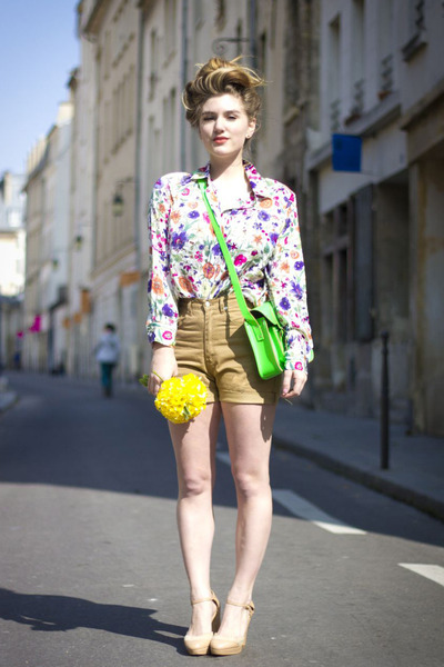 white floral print Pencey Standard blouse - neon satchel cambridge satchel bag