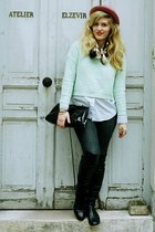 over the knee Topshop boots - dark wash Goldsing jeans - mint knit hm sweater