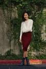 Ivory-forever-21-sweater-crimson-h-m-skirt