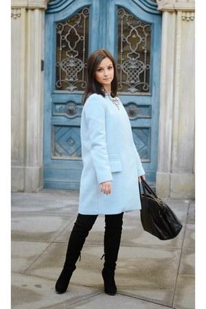 light blue Zara coat