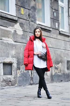 red Zara jacket - black Stradivarius boots - white H&M shirt