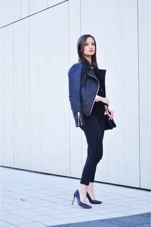 black Zara jacket - black Kiabi bag