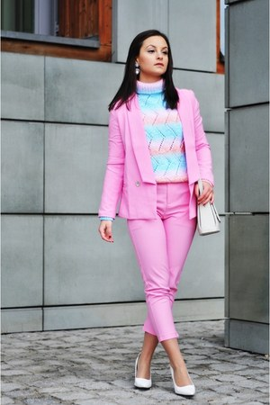 bubble gum Choies suit - white Mango wedges