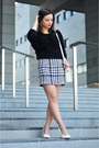 Black-c-a-blouse-white-mango-skirt