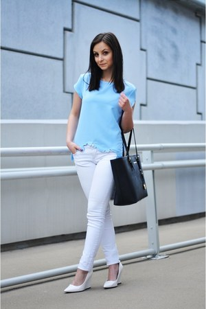 sky blue PERSUNMALL blouse - black Michael Kors bag
