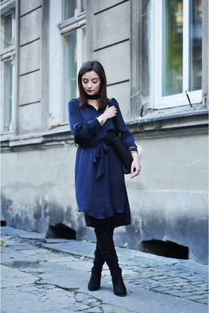 black Stradivarius boots - navy Zara dress