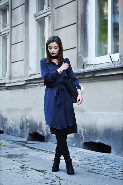 black Stradivarius boots - navy Zara dress