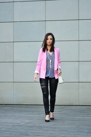 bubble gum Choies blazer - white Zara shirt