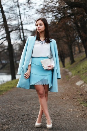 sky blue Zara coat - eggshell new look bag