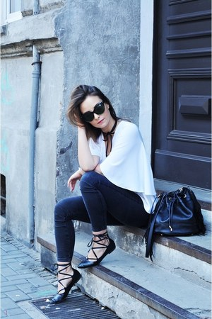 black brylove sunglasses - white Zara blouse - black DIY necklace