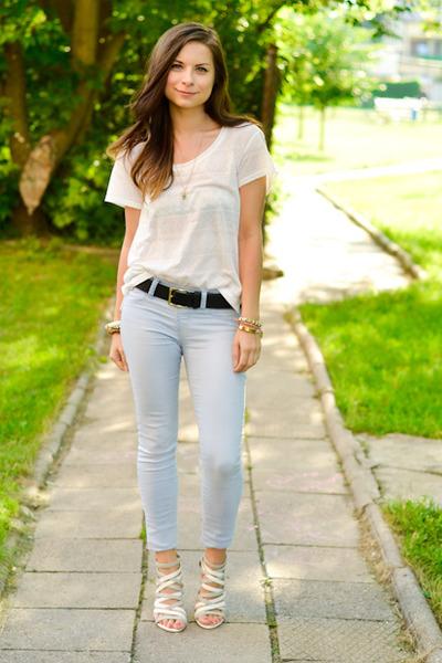 white H&M t-shirt - silver Zara heels - sky blue Stradivarius pants