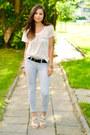 White-h-m-t-shirt-sky-blue-stradivarius-pants-silver-zara-heels