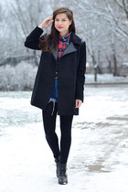 black Zara boots - dark gray Stradivarius coat - red checkered Atmosphere shirt