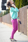 Turquoise-blue-bershka-sweater-black-h-m-sunglasses-magenta-bershka-pants