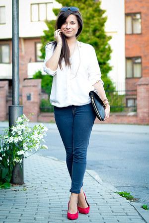 white Bershka shirt - dark gray H&M bag - charcoal gray H&M sunglasses