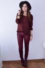 Maroon-jeffrey-campbell-boots-crimson-bershka-hat-maroon-bershka-sweater