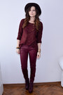 Maroon-jeffrey-campbell-boots-crimson-bershka-hat-maroon-bershka-sweater
