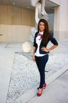 navy Forever 21 jeans - navy i made it handmade blazer - red unknown accessories