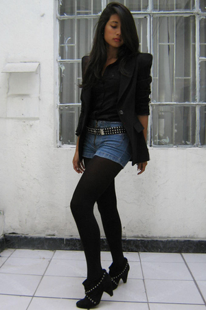 black Zara blazer - black Basement boots - blue vintage shorts - black American