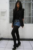black Zara blazer - black Basement boots - blue vintage shorts - black American