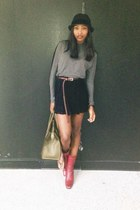 black asks fifth ave hat - red Miu Miu boots - forest green Celine bag