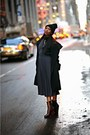 Crimson-celine-boots-dark-green-h-m-dress-black-asks-fifth-ave-coat