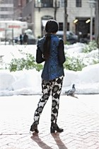 navy Elie Tahari blazer - black acne boots - black Saks Fifth avenue jacket