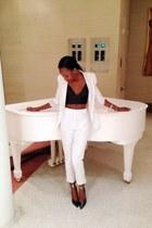 white Zara blazer - white H&M pants - black t by alexander wang bra